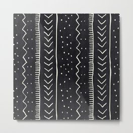 Moroccan Stripe in Black and White Metal Print