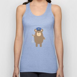 Police Bear with Unisex Tank Top