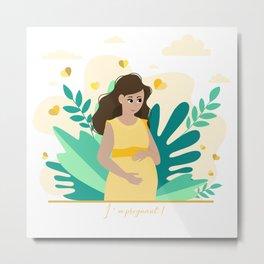 I'm pregnant! Pregnancy announcement illustration Metal Print