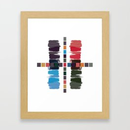 Bold brushstrokes with mosaic stripes Framed Art Print