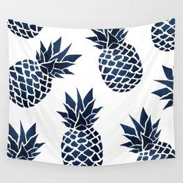 Pineapple Blue Denim Wall Tapestry
