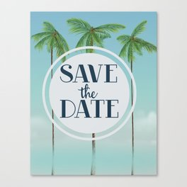 Save the Date Tropical Palms. Canvas Print