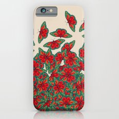 Ruby & Emerald Butterfly Dance - red, teal & green butterflies on cream iPhone 6 Slim Case
