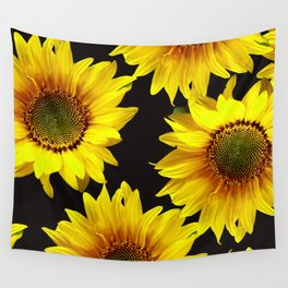 Large Sunflowers on a black background #decor #society6 #buyart Wall Tapestry
