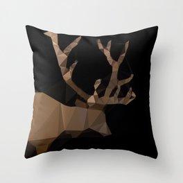 Low poly elk Throw Pillow