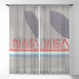 Vintage NASA Moon poster Sheer Curtain
