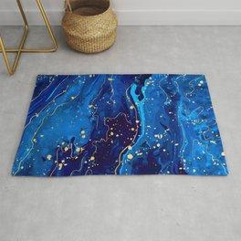 Blue marble and gold abstract - Resumen de mármol azul y oro - Abstrakt aus blauem Marmor und Gold Rug