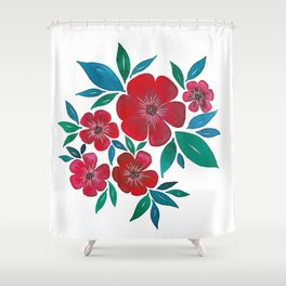 Red Flowers watercolor Shower Curtain