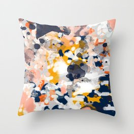 Stella - Abstract painting in modern fresh colors navy, orange, pink, cream, white, and gold Throw Pillow