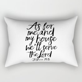 Joshua, Home Decor,Home Sign,Bible verse,Bible Cover,Scripture Art,Quote Prints,Typography Poster Rectangular Pillow