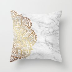 Mandala - Gold & Marble Throw Pillow