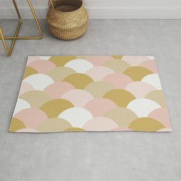 Light Pink and Mustard Yellow Clamshells Rug