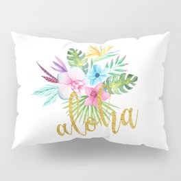Hawaiian multicolored floral bouquet with faux gold aloha brush script Pillow Sham