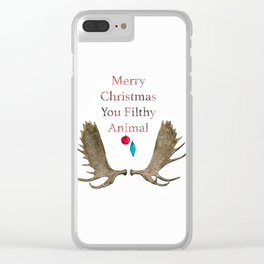 Merry Christmas You Filthy Animal Clear iPhone Case