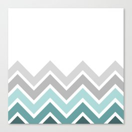 WHITE/ TEAL CHEVRON FADE Canvas Print