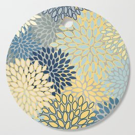 Floral Print, Yellow, Gray, Blue, Teal Cutting Board