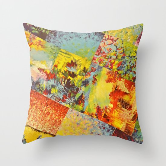 COLORFUL INDECISION 3 - Wild Vivid Rainbow Abstract Acrylic Painting Mixed Pattern Pretty Art Gift  Throw Pillow
