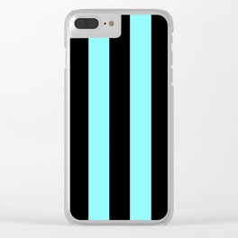 Turquoise and Black Stripes Clear iPhone Case