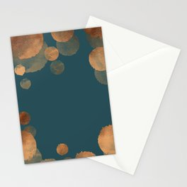 Metal Copper Dots on Emerald Stationery Cards