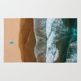 Woman On Turquoise Towel Alone On Beach, Aerial Drone Photography, Ocean Wall Art Print, Minimalism Rug
