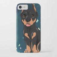 doberman iPhone & iPod Cases featuring Chibi doberman by Furiarossa