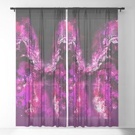 wolves hate monday splatter watercolor pink Sheer Curtain