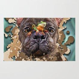 French Bulldog with Frog Rug