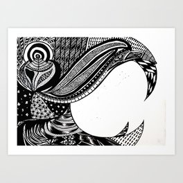 Ap-parrot-ly black and white Art Print