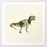 dinosaur Art Prints featuring Dinosaur by Oleg Borodin