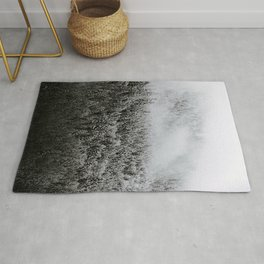 Moody forest in the Fog - Black and White Landscape Photography Rug