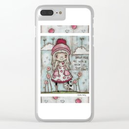 Happy Heart - Motivational Art for Girls Clear iPhone Case