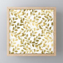 Gold Leaves on White Framed Mini Art Print