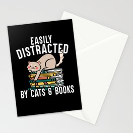 Easily Distracted By Cats And Books Literature Stationery Cards
