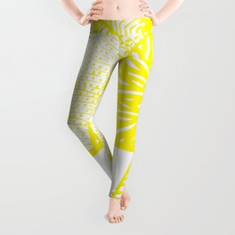 Free Hand Zesty Lemon Doodle Design Leggings