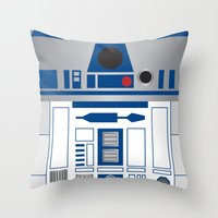 r2d2 Throw Pillows featuring R2D2 by Sam Del Valle