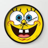 spongebob Wall Clocks featuring SpongeBob Face by julien tremeau