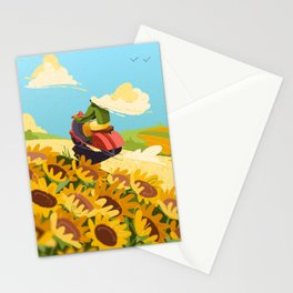 Girl Traveling by Scooter, Vespa 125 Stationery Cards