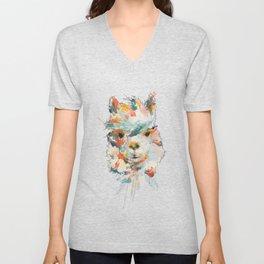 + Watercolor Alpaca + Unisex V-Neck