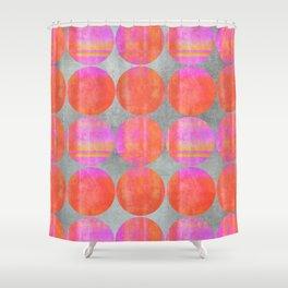 orange dots grunge mixed media modern pattern Shower Curtain