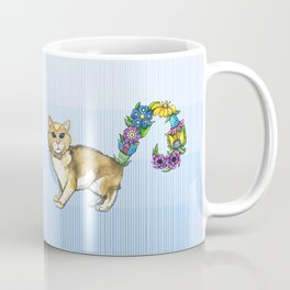 A Brown Cat Sprouting Flowers Coffee Mug