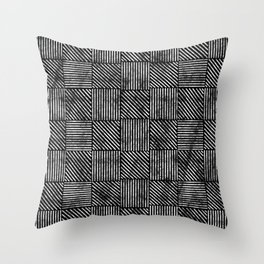 Black and White Distressed Diagonal Lines Pattern Vintage Unique Artistic Style Design Throw Pillow