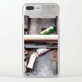 Bottles on the subway tracks Clear iPhone Case
