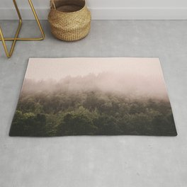 Pink Foggy Forest Landscape Photography Nature Earth Rug