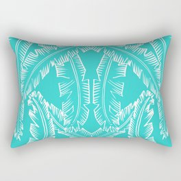 Modern Palm Leaves - Turquoise Blue and White Rectangular Pillow
