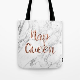 Nap queen - rose gold on marble Tote Bag