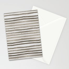 Simply Shibori Stripes Earth Brown on Lunar Gray Stationery Cards