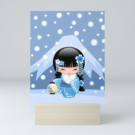 Japanese Winter Kokeshi Doll at Blue Mountain Mini Art Print
