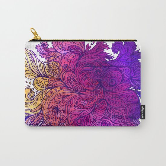 Purple Floral Indian Pattern Carry-All Pouch