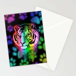 Tiger Neon Dripping Rainbow Colors Stationery Cards