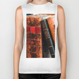 Rustic Antique Library Books Shelf Biker Tank